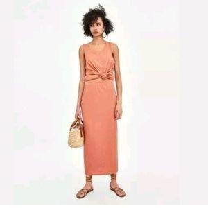 Zara NWT Coral Pull On Maxi Skirt 100% Cotton